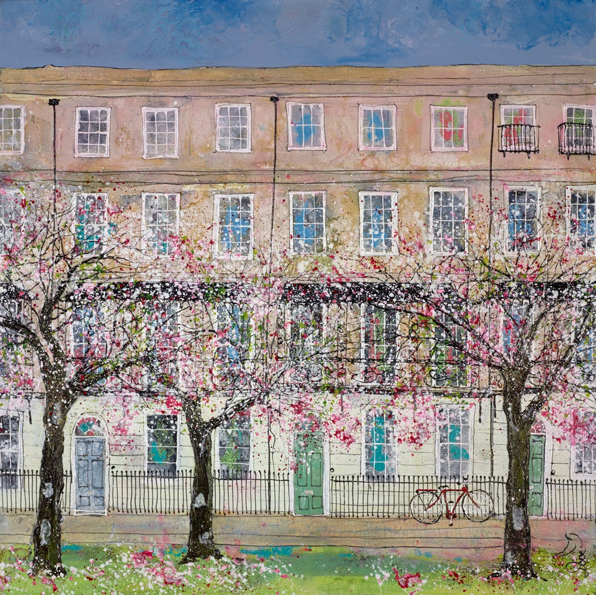 Three Blossom Trees and a Red Bike by katharine dove -  sized 28x28 inches. Available from Whitewall Galleries